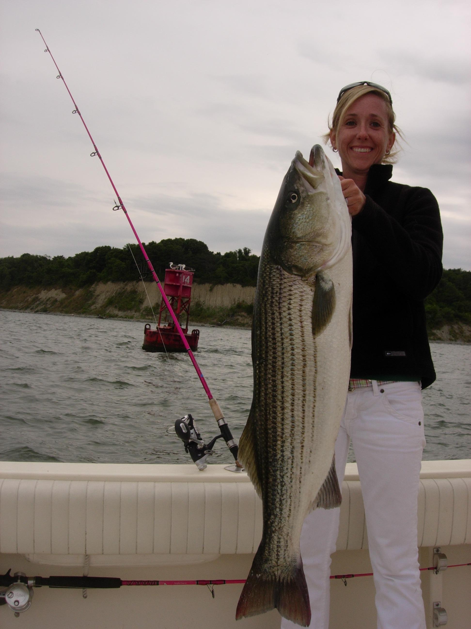 38 inch Striper Aug 15th on Flounder Rod